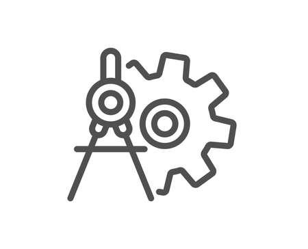 Cogwheel dividers line icon. Engineering tool sign. Cog gear symbol. Quality design flat app element. Editable stroke Cogwheel dividers icon. Vector