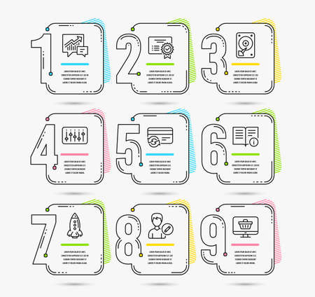 Infographic template with numbers 9 options. Set of Hdd, Change card and Certificate icons. Technical info, Accounting and Rocket signs. Edit person, Dj controller and Web shop symbols. Vector