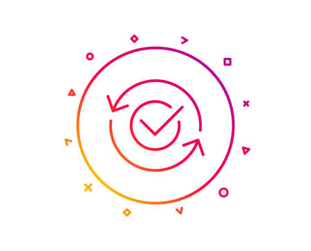 Approved line icon. Accepted or confirmed sign. Refresh symbol. Gradient pattern line button. Approved icon design. Geometric shapes. Vector