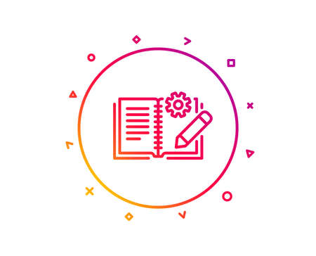Engineering documentation line icon. Technical instruction sign. Gradient pattern line button. Engineering documentation icon design. Geometric shapes. Vector Illustration