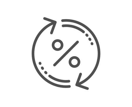 Icône de ligne de mise à jour du pourcentage de prêt. Signe de remise. Symbole de taux de pourcentage de crédit. Élément d'application plat de conception de qualité. Icône de pourcentage de prêt modifiable de course. Vecteur Vecteurs