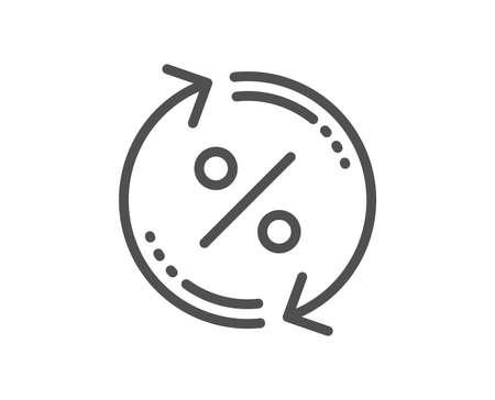 Icono de línea de actualización de porcentaje de préstamo. Signo de descuento. Símbolo de tasa de porcentaje de crédito. Elemento de aplicación plana de diseño de calidad. Icono de porcentaje de préstamo de trazo editable. Vector Ilustración de vector