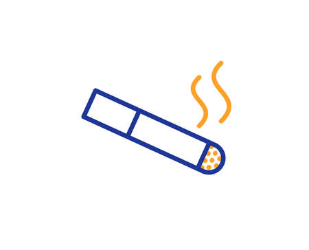 Smoking area line icon. Cigarette sign. Smokers zone symbol. Colorful outline concept. Blue and orange thin line color icon. Smoking Vector Ilustração