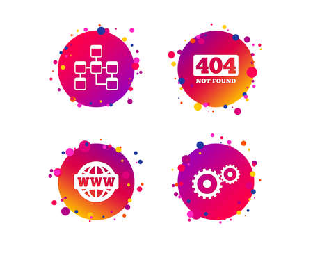 Website database icon. Internet globe and gear signs. 404 page not found symbol. Under construction. Gradient circle buttons with icons. Random dots design. Vector