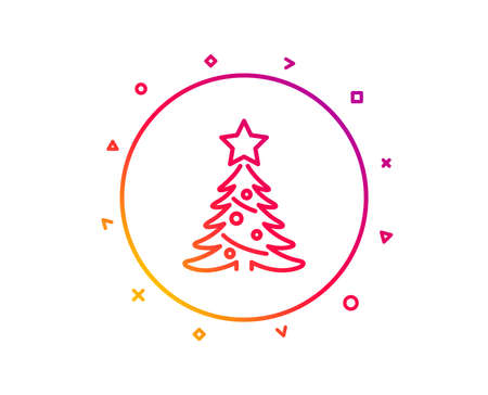 Christmas tree present line icon. New year spruce sign. Fir-tree symbol. Gradient pattern line button. Christmas tree icon design. Geometric shapes. Vector 스톡 콘텐츠 - 112887183