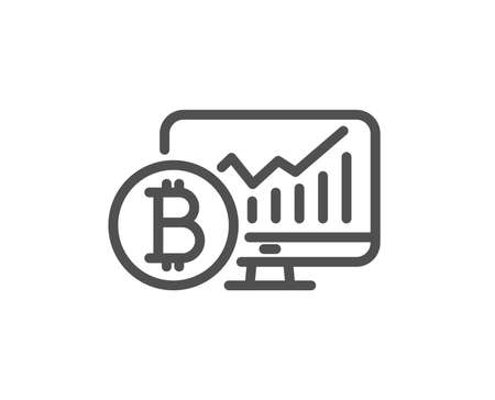 Bitcoin graph line icon. Cryptocurrency analytics sign. Crypto money statistics symbol. Quality design flat app element. Editable stroke Bitcoin chart icon. Vector Ilustracja