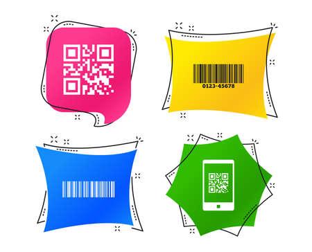 Iconos de código de barras y qr. Escanee el código de barras en los símbolos de teléfonos inteligentes. Etiquetas de colores geométricos. Banners con iconos planos. Diseño de moda. Vector