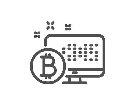 Bitcoin line icon. Cryptocurrency monitor sign. Crypto money symbol. Quality design flat app element. Editable stroke Bitcoin system icon. Vector