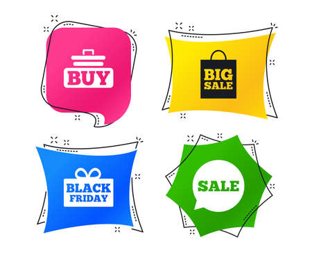 Sale speech bubble icons. Buy cart symbols. Black friday gift box signs. Big sale shopping bag. Geometric colorful tags. Banners with flat icons. Trendy design. Vector