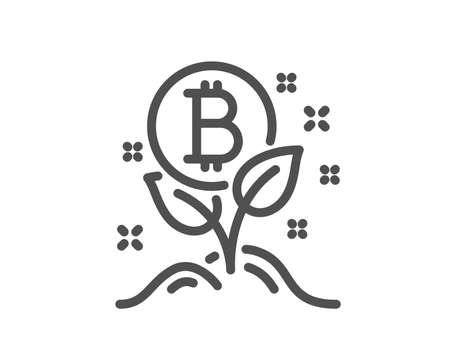 Bitcoin line icon. Cryptocurrency startup sign. Crypto leaf symbol. Quality design flat app element. Editable stroke Bitcoin project icon. Vector Ilustracja