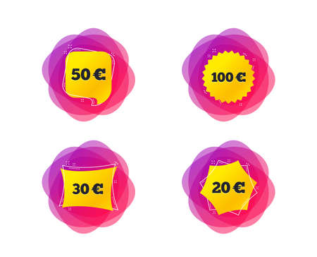 Money in Euro icons. 100, 20, 30 and 50 EUR symbols. Money signs Geometric gradient sales shapes. Creative banners. Template for design. Vector Illustration