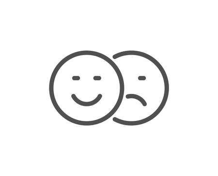 Like and dislike line icon. Smile sign. Social media feedback symbol. Quality design flat app element. Editable stroke Like icon. Vector Illustration