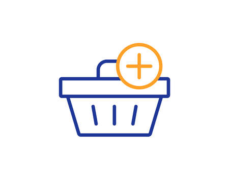 Add to Shopping cart line icon. Online buying sign. Supermarket basket symbol. Colorful outline concept. Blue and orange thin line color icon. Add purchase Vector