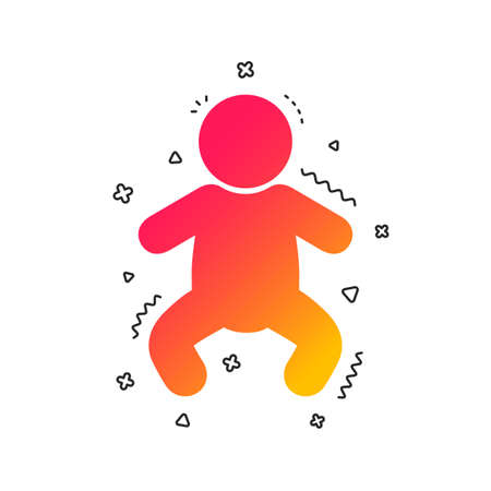 Baby infant sign icon. Toddler boy in pajamas or crawlers body symbol. Child WC toilet. Colorful geometric shapes. Gradient infant icon design.  Vector