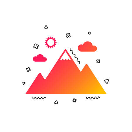 Mountain icon. Mountaineering sport sign. Leadership motivation concept. Colorful geometric shapes. Gradient Mountain icon design.  Vector