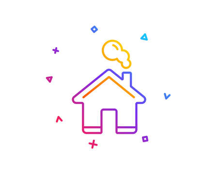 Home line icon. House sign. Building or Homepage symbol. Gradient line button. Home icon design. Colorful geometric shapes. Vector