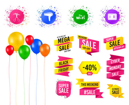 Balloons party. Sales banners. Hotel services icons. Wi-fi, Hairdryer and deposit lock in room signs. Wireless Network. Hairdresser or barbershop symbol. Birthday event. Trendy design. Vector