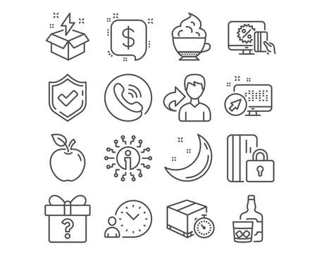 Set of Online shopping, Creative idea and Payment message icons. Time management, Delivery timer and Secret gift signs. Blocked card, Cappuccino cream and Whiskey glass symbols. Vector