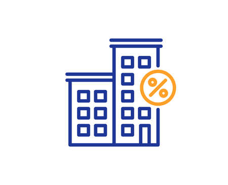 Loan house percent line icon. Discount sign. Credit percentage symbol. Colorful outline concept. Blue and orange thin line color Loan house icon. Vector