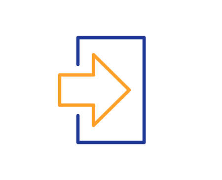 Login arrow line icon. Sign in symbol. Navigation pointer. Colorful outline concept. Blue and orange thin line color icon. Login Vector  イラスト・ベクター素材