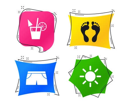 Beach holidays icons. Cocktail, human footprints and swimming trunks signs. Summer sun symbol. Geometric colorful tags. Banners with flat icons. Trendy design. Vector