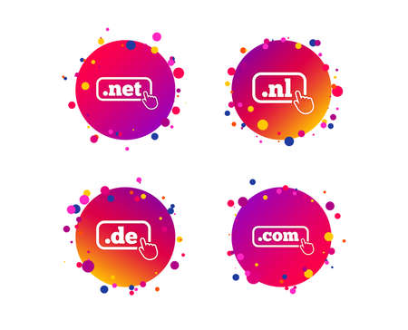Top-level internet domain icons. De, Com, Net and Nl symbols with hand pointer. Unique national DNS names. Gradient circle buttons with icons. Random dots design. Vector Ilustrace