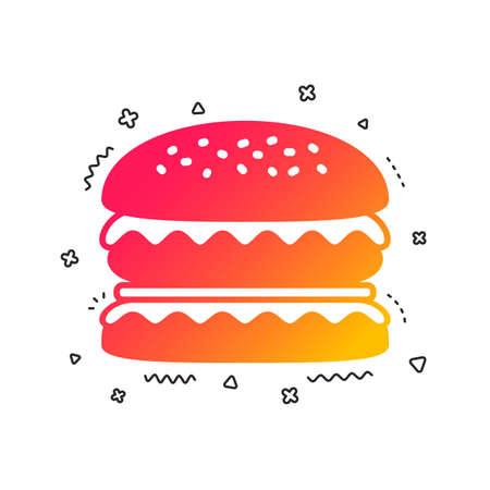 Hamburger icon. Burger food symbol. Cheeseburger sandwich sign. Colorful geometric shapes. Gradient burger icon design.  Vector 일러스트