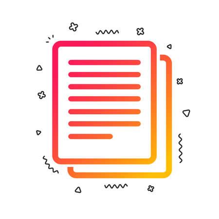 Copy file sign icon. Duplicate document symbol. Colorful geometric shapes. Gradient copy icon design.  Vector