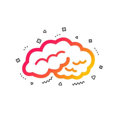 Brain sign icon. Human intelligent smart mind. Colorful geometric shapes. Gradient brain icon design.  Vector