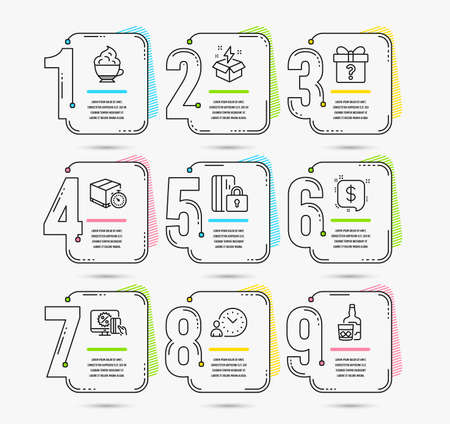 Infographic timeline set of Online shopping, Creative idea and Payment message icons. Time management, Delivery timer and Secret gift signs. Vector Stock Illustratie