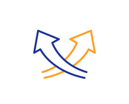 Intersection arrows line icon. Exchange and turn, cross sign. Colorful outline concept. Blue and orange thin line color icon. Intersection arrows Vector Illustration