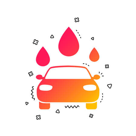 Car wash icon. Automated teller carwash symbol. Water drops signs. Colorful geometric shapes. Gradient carwash icon design.  Vector