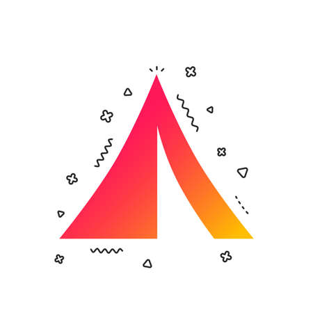 Tourist tent sign icon. Camping symbol. Colorful geometric shapes. Gradient camping icon design.  Vector Stock Vector - 112604815