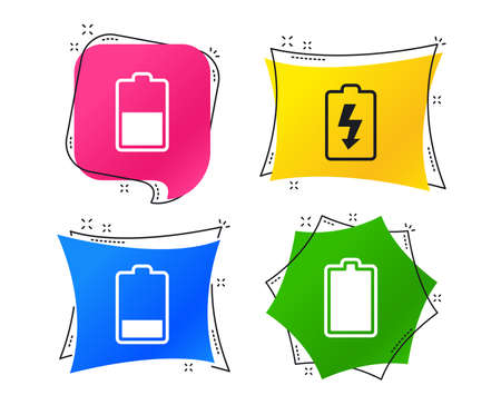 Battery charging icons. Electricity signs symbols. Charge levels: full, half and low. Geometric colorful tags. Banners with flat icons. Trendy design. Vector