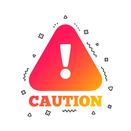 Attention caution sign icon. Exclamation mark. Hazard warning symbol. Colorful geometric shapes. Gradient caution icon design.  Vector Illustration