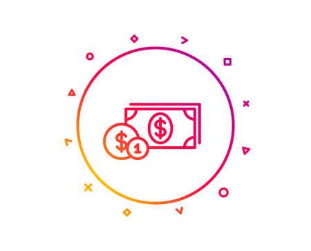 Cash money with Coins line icon. Banking currency sign. Dollar or USD symbol. Gradient pattern line button. Dollar money icon design. Geometric shapes. Vector Illustration