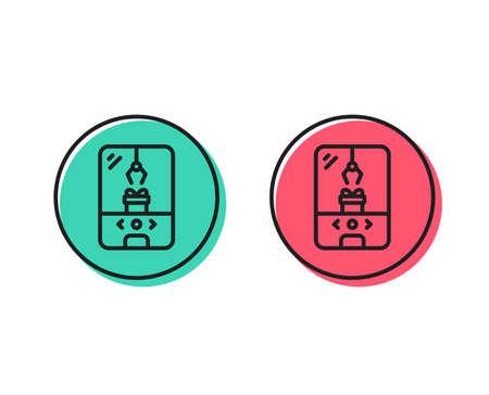 Symbol für die Krankralle-Maschinenlinie. Vergnügungspark-Zeichen. Karussell-Symbol. Konzept für positive und negative Kreistasten. Gute oder schlechte Symbole. Krankrallenmaschine Vector