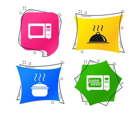 Microwave grill oven icons. Cooking pan signs. Food platter serving symbol. Geometric colorful tags. Banners with flat icons. Trendy design. Vector Illustration