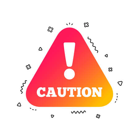 Attention caution sign icon. Exclamation mark. Hazard warning symbol. Colorful geometric shapes. Gradient caution icon design.  Vector Foto de archivo - 112604911