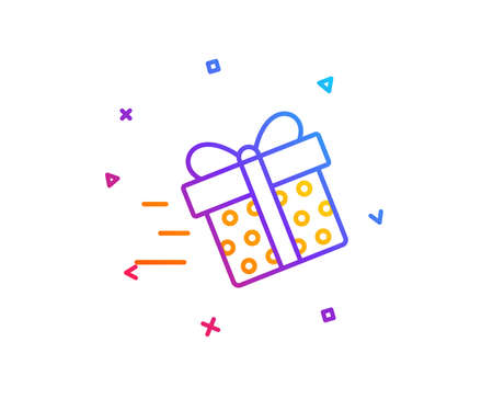 Gift box Delivery line icon. Present or Sale sign. Birthday Shopping symbol. Package in Gift Wrap. Gradient line button. Present delivery icon design. Colorful geometric shapes. Vector
