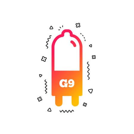 Light bulb icon. Lamp G9 socket symbol. Led or halogen light sign. Colorful geometric shapes. Gradient G9 lamp icon design.  Vector Illustration