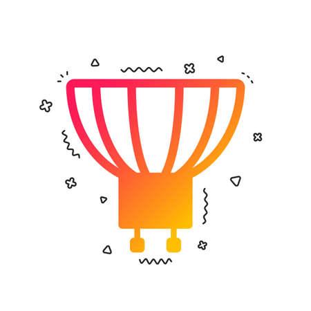 Light bulb icon. Lamp GU10 socket symbol. Led or halogen light sign. Colorful geometric shapes. Gradient GU10 lamp icon design.  Vector Illustration