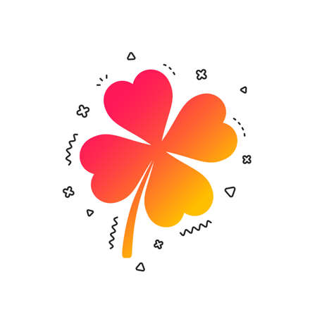 Clover with four leaves sign icon. Saint Patrick symbol. Colorful geometric shapes. Gradient clover icon design.  Vector
