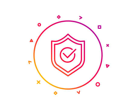 Approved shield line icon. Accepted or confirmed sign. Protection symbol. Gradient pattern line button. Approved shield icon design. Geometric shapes. Vector Illustration