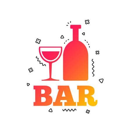 Bar or Pub sign icon. Wine bottle and Glass symbol. Alcohol drink symbol. Colorful geometric shapes. Gradient bar icon design.  Vector Illustration