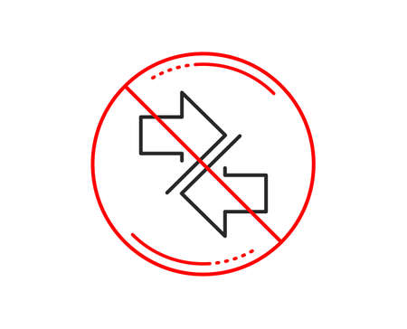 No or stop sign. Synchronize arrows line icon. Communication Arrowheads symbol. Navigation pointer sign. Caution prohibited ban stop symbol. No  icon design.  Vector Illustration