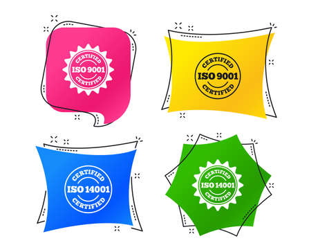 ISO 9001 and 14001 certified icons. Certification star stamps symbols. Quality standard signs. Geometric colorful tags. Banners with flat icons. Trendy design. Vector Illustration