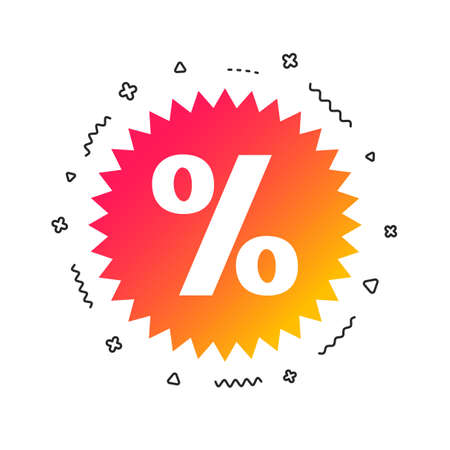 Discount percent sign icon. Star symbol. Colorful geometric shapes. Gradient sale icon design. Vector