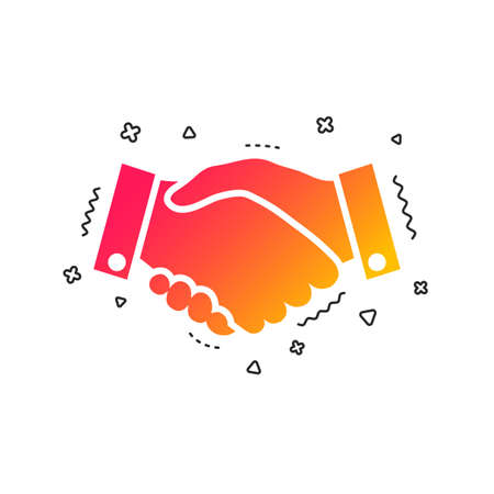 Handshake sign icon. Successful business symbol. Colorful geometric shapes. Gradient handshake icon design.  Vector Illusztráció