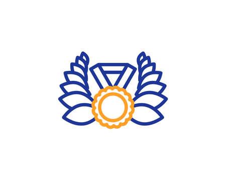 Laurel wreath line icon. Winner medal symbol. Prize award sign. Colorful outline concept. Blue and orange thin line color icon. Laureate medal Vector